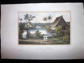 d'Urville 1835 Folio Hand Col Print. Houses at Tondano, Indonesia East Indies